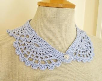 Crochet Collar, Peter Pan Style crochet Collar, Blue Collar, Lace Crochet Collar, UK Seller
