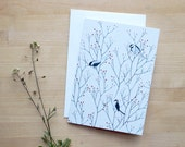 Maine Chickadees Notecard in Red Berry Branches (Blank) 4x6