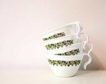 "Set of 4 Vintage ""Corelle by Corning"" Coffee or Tea Mugs, Spring Blossom Design, Hook Handles"