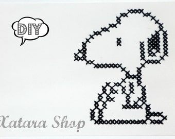 DIY. Cross stitch card. Snoopy wall art with personalized message for framing.