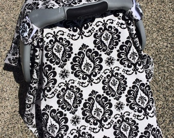 Baby Car Seat Canopy COVER or NURSING Cover: Black and White Floral Flourishes with Black Minky, Personalization Available
