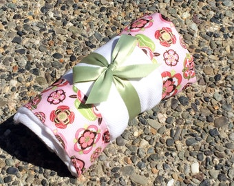 Burp Cloth / Changing Pad: Brown Pink and Green Flowers on Light Pink, Personalization Available