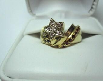Sapphire, Ruby, Diamonds 14K Gold Star Ring