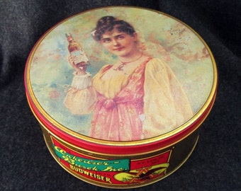 Budweiser advertising tin, vintage Budweiser collectible, food canister, advertising cookie candy tin, 90s