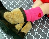 Valentine's Day Baby and Girl's Leg Warmers with Red Felt Heart Boot Socks Leggings Boot Cuffs Boot Toppers Pink Grey Black pick your color