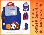 PeRSONALIZED STePHEN JoSEPH GiFTS BaCKPACK SPORT BaSEBALL FOOTBaLL SoCCER BaSKETBALL FREE Name Toddler Boy Girl Handcrafted Diaperbag