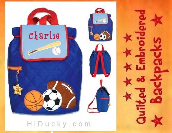 PeRSONALIZED STePHEN JoSEPH GiFTS BaCKPACK SPORT BaSEBALL FOOTBaLL SoCCER BaSKETBALL FREE Name Toddler Boy Girl Handcrafted Diaperbag
