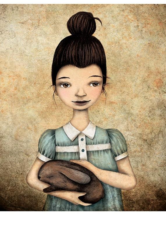 Sweet Dreams Illustration Print Pencil Girl Bunny Drawing Children Nursery Home Decor Pastel Beige Blue Brown