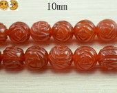 15 inch strand of natural Carnelian carved rose flower beads 10mm