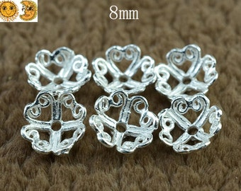 12 pcs of  925 Sterling Silver filigree bead caps 8mm