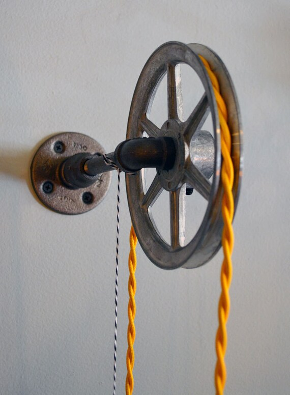 Wall Pulley Light Vintage Industrial Cast Iron 1 Wheel