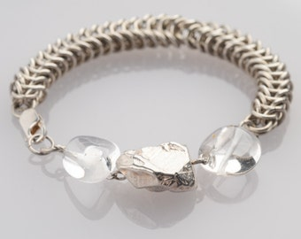 Chianmaille Bracelet ,Chunky, Silver, Antique Style, Silver Cubist Bead, Quartz Beads, Rustic, Statement,  For Any Outfit