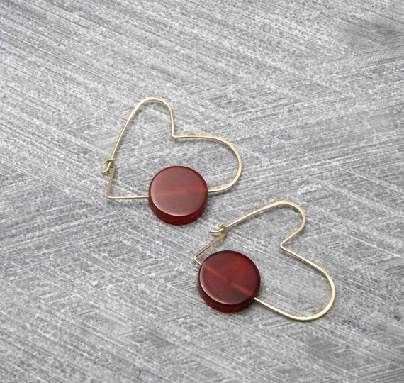 Hoop Earrings,  Heart Shaped, GF Wire,  Red & Brown Carnelian, Casual, Unconventional Design, Teens, Women, Under 50, Valentine