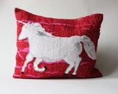 Vintage pillow UNICORN mythical creatures needlepoint handmade fantasy red white horse unikat magic