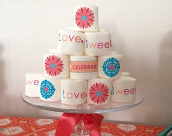 12 jumbo personalized marshmallows any theme logo or design to match any part or event contemporary wedding or smores bar