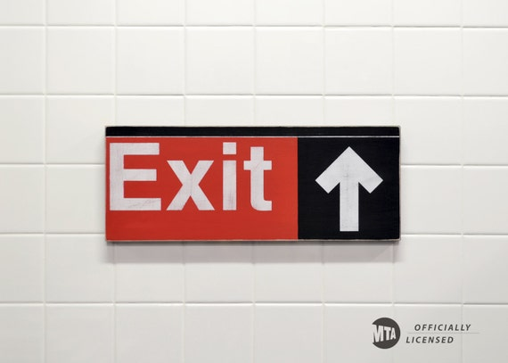 New York Subway Exit Sign - Hand Painted on Wood