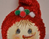 Painted Snowman with Stocking Hat Snowball, Snowman Snowball Decoration, Red Hat Snowman, Holiday Decoration, Painted Snowman Face,OFG Team