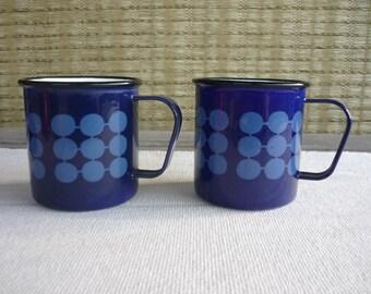 Vintage Mid Century Modern Enamel Mugs, Finel Arabia, Finland, Set of 2