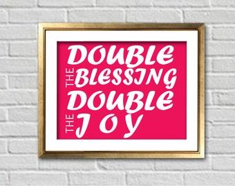 Custom Double The Blessings Double The Joy Twins Nursery Art Print | Baby Shower Gift