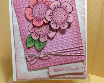Thanks a Bunch with 3D Pink Flowers Handmade Card