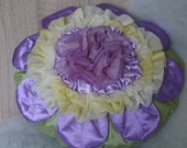 Throw pillow cover ruffled flower in lavender and yellow round cushion case