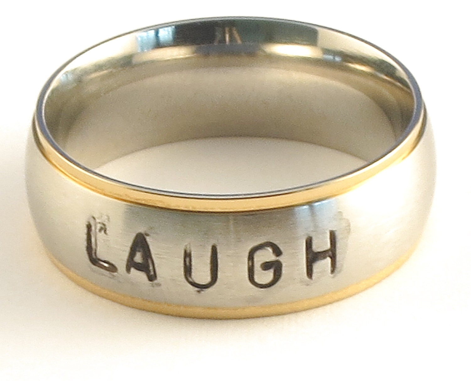 LAUGH with Black Font - Personalized Hand Stamped Customized Stainless Steel Gold Tone Edge Comfort Fit Name Ring 6mm - Ring Size 3-14