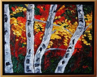 Oil Painting - Fall Colours Impasto Art by Trupti