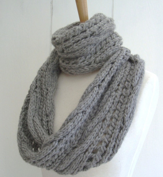 Knitting Pattern Lace Infinity Scarf : KNITTING PATTERN for Chunky Cable Lace Infinity Scarf ...