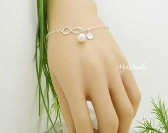 Bridesmaid Infinity Bracelet, Custom Initial Bracelet, Pearl Bracelet, Bridesmaid Gift Ideas, Wedding Jewelry, Bridesmaid Jewelry