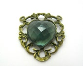 """bronze heart pendant with faceted acrylic stone 1.5"""""""