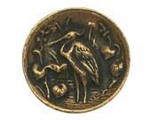 Heron 7/8 inch ( 22 mm ) Susan Clarke Metal Button Antique Brass Color