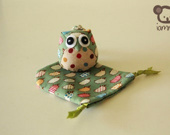 Pocci - Cute, Owl Doll, Bag, plush, owl decor, green, poka dot, porcupine, little, mini, kid, owl decoration, kawaii, animal, bird, hoot
