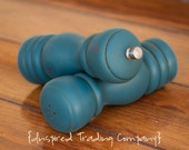 CHOOSE YOUR COLOR - Painted,Distressed, Wooden Pepper Mill and Salt Shaker - Aubusson Blue