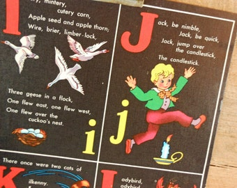 Vintage Child's Alphabet Illustration from 1945 Book Litho on Linen Pages