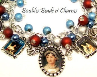 Jane Austen Charm Bracelet Jewelry, Literary Charm Bracelet, Beaded Altered Art Picture Charms Novels Writers Books