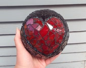 Mosaic Orb, Gazing Ball, Crystal Ball, Home Decor, Romantic Decor, Heart Mosaic Gazing Ball