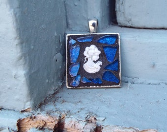 Woman Cameo Pendant, Framed Pendant, Victorain Stained Glass Pendant, Blue Glass Pendant, Mosaic Pendant