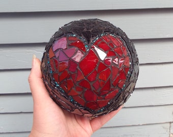 Mosaic Orb, Gazing Ball, Crystal Ball, Home Decor, Romantic Decor, Heart Mosaic Gazing Ball