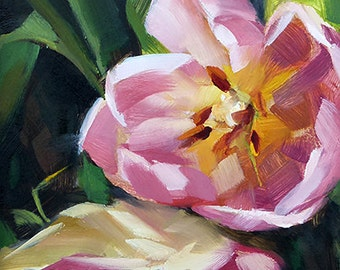 Oil Painting of a Pink Tulip