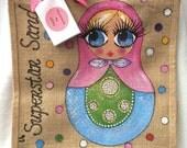 Handpainted Personalised Russian Doll Matryoshka Jute Handbag Gift Bag Hen Party Celebrity Style