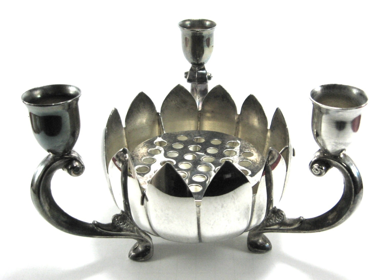 Vintage centerpiece lotus bowl candle holders flower frog