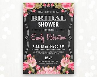 Printable Bridal Shower Invitation Chalkboard & Pink Rose Invite Shower the Bride Editable Retro Vintage Flyer INSTANT DOWNLOAD Digital PDF