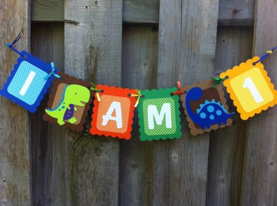 Birthday Banner, I am One Dinosaur Party Theme, Happy Birthday ...