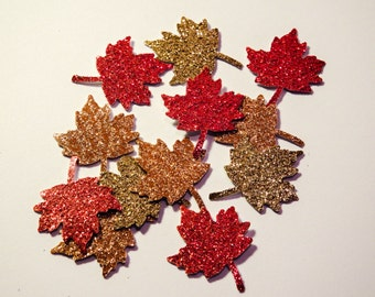50 Glitter Maple Leaves,Confetti,Invitations, Wedding,Woodland Theme,Embellishments