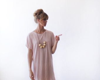 Blush pink midi length T-shirt dress , Short sleeves summer dress