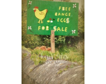 Farm Eggs Photo, Rustic Sign, English Countryside, Local Food, Cottage Decor, Garden Art, Kitchen Wall Art