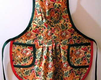 Christmas Apron for child - Gingerbread print - Copyright 1997 by Mary's Harvest Thyme Aprons