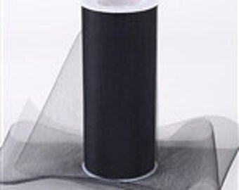 BLACK 6 inch x 75 ft (25 yd) tulle roll