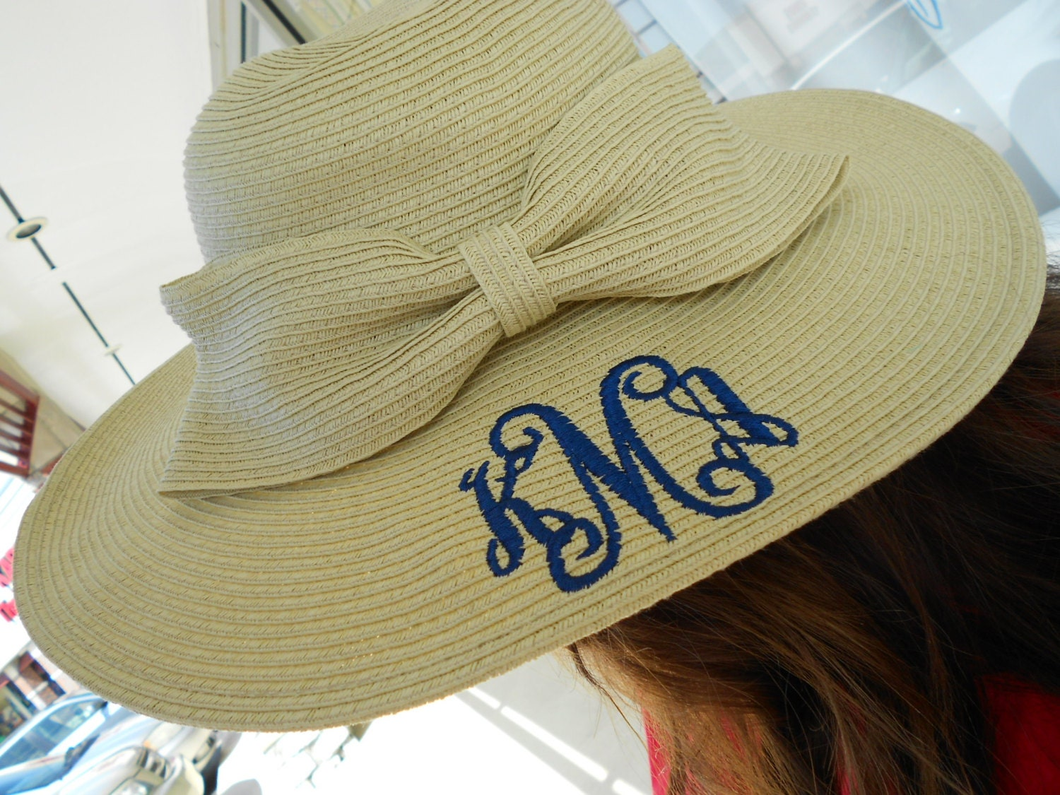 large derby hat monogram personalized with bow font shown