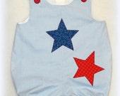 Boys Patriotic Bubble Romper - Baby Boy July 4th Romper - Boys Red White & Blue Bubble Romper Size 6 to 9 Month